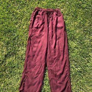 American Eagle Maroon Comfy Fabric Pants